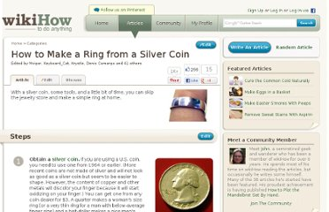 http://www.wikihow.com/Make-a-Ring-from-a-Silver-Coin