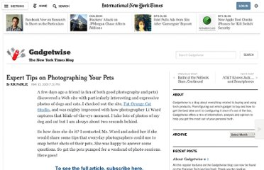 http://gadgetwise.blogs.nytimes.com/2009/05/15/expert-tips-on-photographing-your-pets/