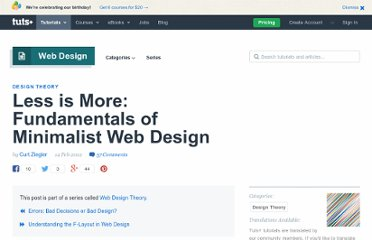 http://webdesign.tutsplus.com/articles/design-theory/less-is-more-fundamentals-of-minimalist-web-design/
