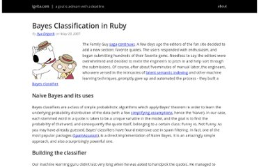 http://www.igvita.com/2007/05/23/bayes-classification-in-ruby/