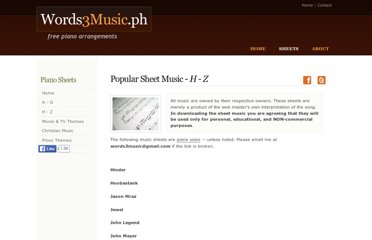 http://www.words3music.ph/sheets-pop2.html