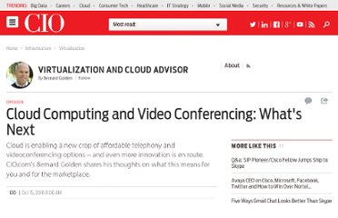http://www.cio.com/article/626069/Cloud_Computing_and_Video_Conferencing_What_s_Next