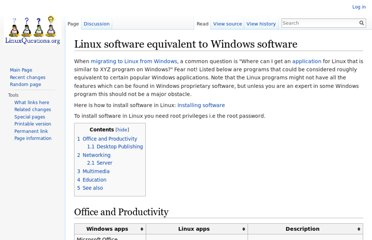 http://wiki.linuxquestions.org/wiki/Linux_software_equivalent_to_Windows_software