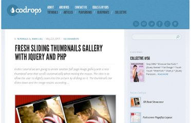 http://tympanus.net/codrops/2010/05/23/fresh-sliding-thumbnails-gallery-with-jquery-php/