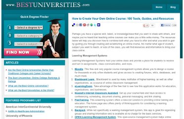 http://www.bestuniversities.com/blog/2009/how-to-create-your-own-online-course-100-tools-guides-and-resources/