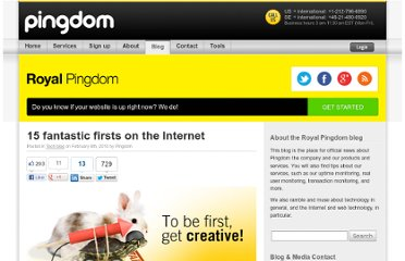 http://royal.pingdom.com/2010/02/08/15-fantastic-firsts-on-the-internet/