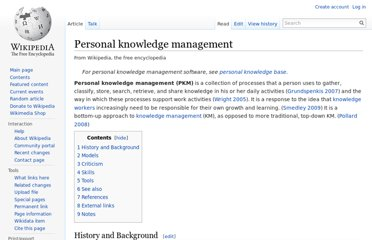 http://en.wikipedia.org/wiki/Personal_knowledge_management