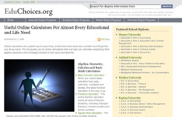 http://educhoices.org/articles/Useful_Online_Calculators_For_Almost_Every_Educational_and_Life_Need.html