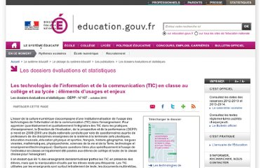 http://www.education.gouv.fr/cid53622/les-technologies-information-communication-tic-classe-college-lycee-elements-usages-enjeux.html