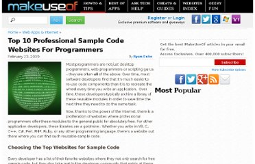 http://www.makeuseof.com/tag/top-10-professional-sample-code-websites-for-programmers/