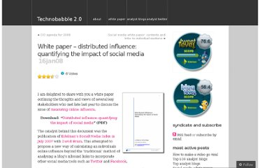 http://technobabble2dot0.wordpress.com/2008/01/16/white-paper-distributed-influence-quantifying-the-impact-of-social-media/