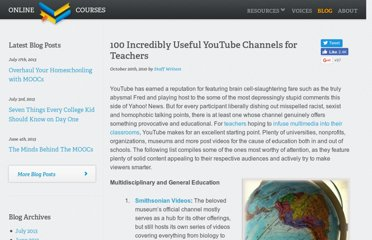 http://www.onlinecollegecourses.com/2010/10/20/100-incredibly-useful-youtube-channels-for-teachers/