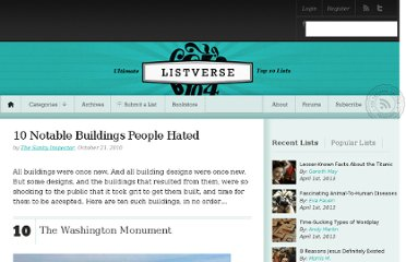 http://listverse.com/2010/10/21/10-notable-buildings-people-hated/