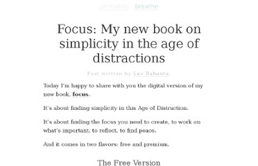 http://zenhabits.net/focus-book/