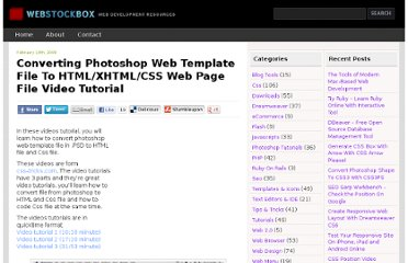 http://www.webstockbox.com/css/converting-photoshop-web-template-file-to-htmlxhtmlcss-web-page-file-video-tutorial/