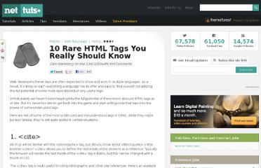 http://net.tutsplus.com/articles/web-roundups/10-rare-html-tags-you-really-should-know/