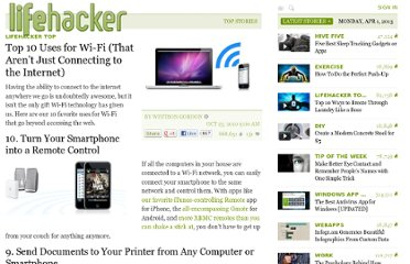 http://lifehacker.com/5671482/top-10-household-uses-for-wi+fi-that-arent-just-connecting-to-the-internet