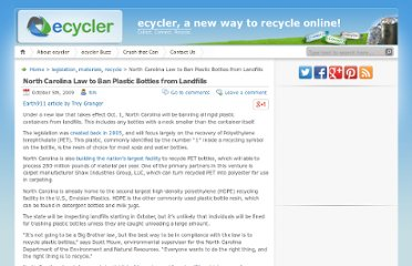 http://blog.ecycler.com/2009/10/05/north-carolina-law-to-ban-plastic-bottles/
