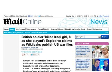 http://www.dailymail.co.uk/news/article-1323040/Wikileaks-Iraq-war-logs-claim-British-soldier-killed-Iraqi-girl-8-played.html