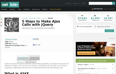 http://net.tutsplus.com/tutorials/javascript-ajax/5-ways-to-make-ajax-calls-with-jquery/
