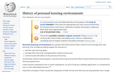 http://en.wikipedia.org/wiki/History_of_personal_learning_environments