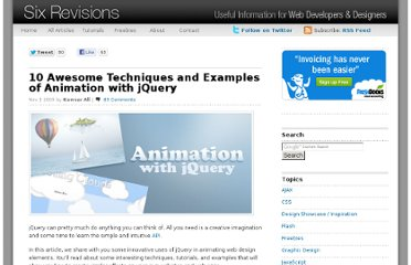 http://sixrevisions.com/javascript/10-awesome-techniques-and-examples-of-animation-with-jquery/