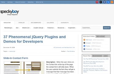 http://speckyboy.com/2008/12/10/37-phenomenal-jquery-plugins-and-demos-for-developers/