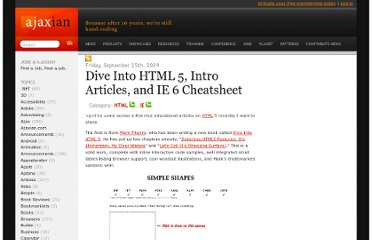 http://ajaxian.com/archives/dive-into-html-5-intro-articles-and-ie-6-cheatsheet