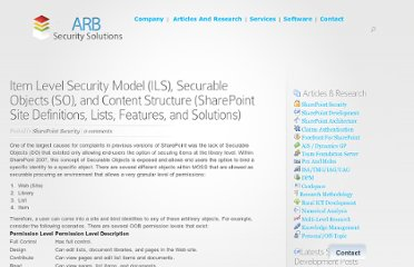 http://www.sharepointsecurity.com/sharepoint/sharepoint-security/item-level-security-model-ils-securable-objects-so-and-content-structure-sharepoint-site-definitions-lists-features-and-solutions/