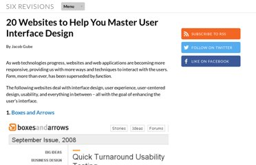 http://sixrevisions.com/usabilityaccessibility/20-websites-to-help-you-master-user-interface-design/