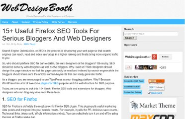 http://www.webdesignbooth.com/15-useful-firefox-seo-tools-for-serious-bloggers-and-web-designers/