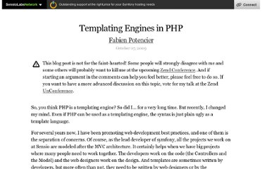 http://fabien.potencier.org/article/34/templating-engines-in-php