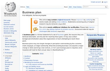 http://en.wikipedia.org/wiki/Business_plan