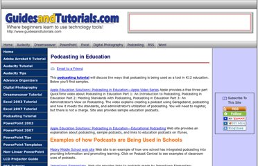 http://www.guidesandtutorials.com/podcasting-in-education.html