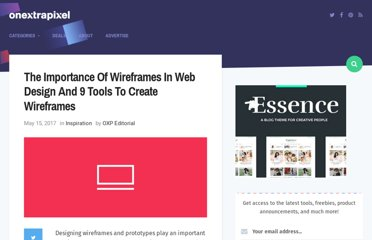 http://www.onextrapixel.com/2009/07/15/the-importance-of-wireframes-in-web-design-and-9-tools-to-create-wireframes/