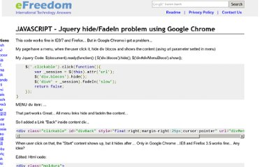 http://efreedom.com/Question/1-1433205/Jquery-Hide-FadeIn-Problem-Using-Google-Chrome