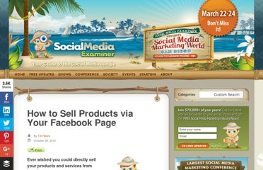 http://www.socialmediaexaminer.com/how-to-sell-products-via-your-facebook-page/