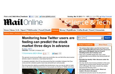 http://www.dailymail.co.uk/sciencetech/article-1322133/How-monitoring-Twitter-users-feeling-predict-stock-market-days-advance.html