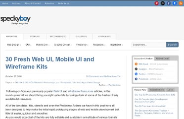 http://speckyboy.com/2010/10/27/30-fresh-web-ui-mobile-ui-and-wireframe-kits/