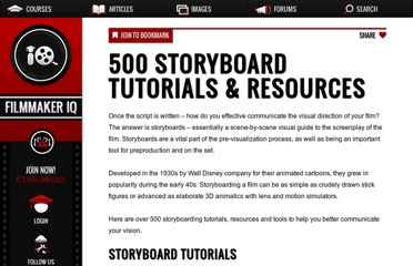 http://filmmakeriq.com/2010/10/500-storyboard-tutorials-resources/