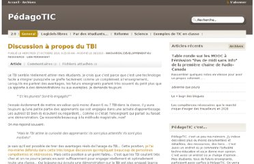 http://pedagotic.uqac.ca/?post/2010/10/27/Discussion-%C3%A0-propos-du-TBI