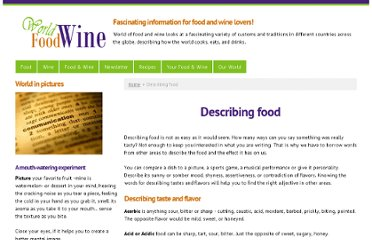 http://world-food-and-wine.com/describing-food