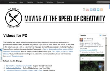 http://www.speedofcreativity.org/resources/videos-for-pd/