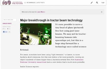 http://io9.com/5634323/major-breakthrough-in-tractor-beam-technology