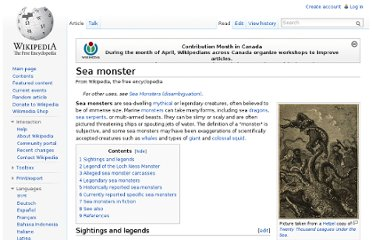 http://en.wikipedia.org/wiki/Sea_monster