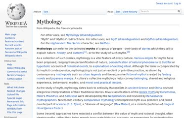 http://en.wikipedia.org/wiki/Mythology