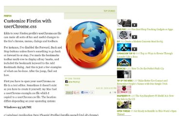 http://lifehacker.com/197715/customize-firefox-with-userchromecss