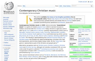 http://en.wikipedia.org/wiki/Contemporary_Christian_music