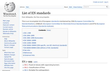 http://en.wikipedia.org/wiki/List_of_EN_standards