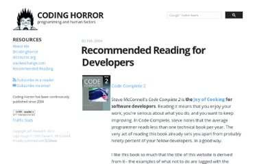 http://www.codinghorror.com/blog/2004/02/recommended-reading-for-developers.html
